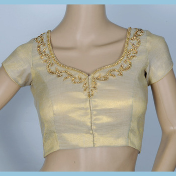 gold tissue blouse with delicate hand embroidery