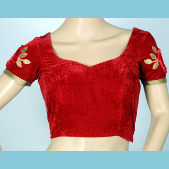 royal deep maroon velvet blouse with beautiful velvet rose