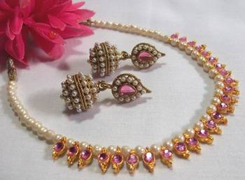 Pink Gota Pearl necklace set