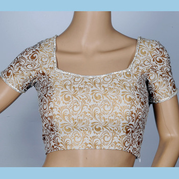 off white & gold brocade with stone work