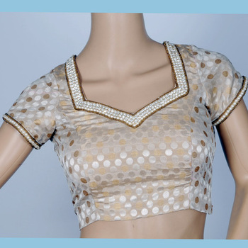 gold & silver brocade with hand work of pearl & stone