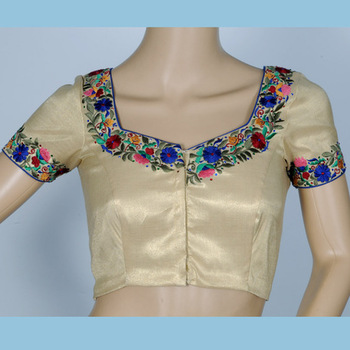 multi colored embroidery with gold tissue