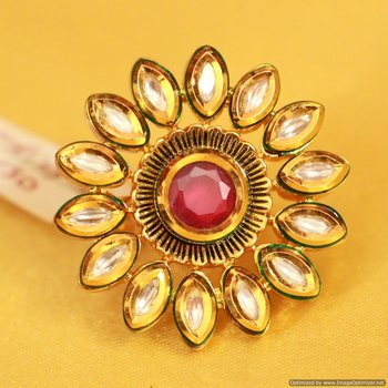 Ruby Kundan Meenakari Antique Adjustable Ring