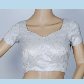 dull silver blouse with self machine embroidery