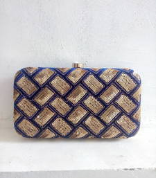 Buy Blue Sequin Patterned Clutch clutch online