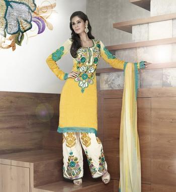 Vishal faux georgette yellow Dress material Kitten918