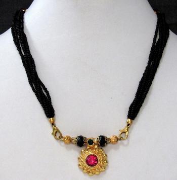 Dark pink nice stone mangalsutra necklace