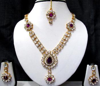Purple nice flower stone necklace set