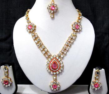 Pink nice flower stone necklace set