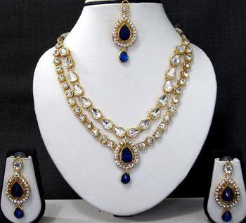 Dark Blue 2 line tilak stone necklace set