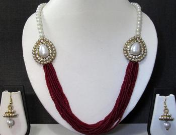 Maroon Pearl Two Side Brooch Jhumka necklace set