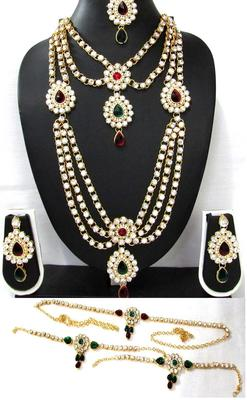 Maroon Green Stone kundan bridal necklace set