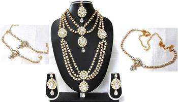 White Stone kundan bridal necklace set