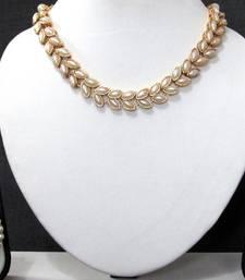 White pearl double line polki necklace set