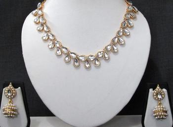 White stone kundan gota necklace set