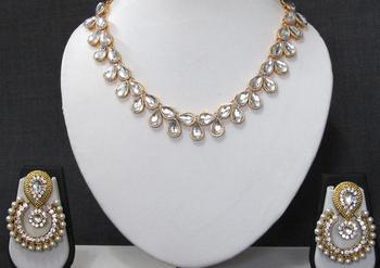 White kundan stone polki necklace set