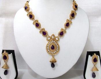 Golden Purple kundan with stone necklace set