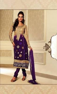 Fascinating Purple & Cream Embroidery Salwar Kameez