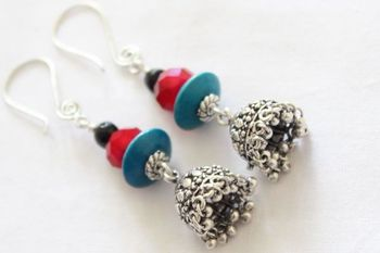 Black Red and Teel Earrings