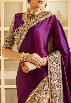 b7e6ab123f2a8 VIOLET Embroidered art silk saree With Blouse - Manjula Feb - 1416445