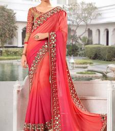 Buy Orange mirror work georgette saree with blouse party-wear-saree online