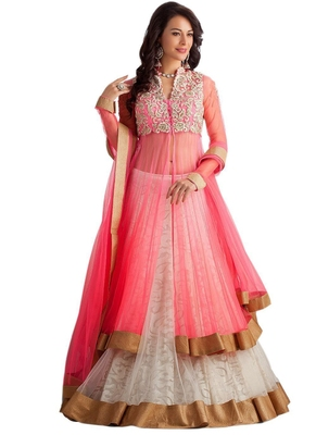 Buy Pink Super Net Embroidered Semi Stitiched Party Wear Gowns Online