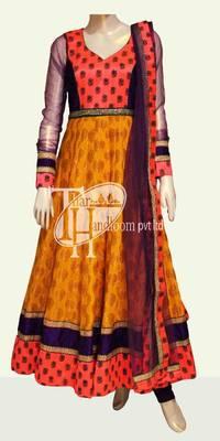 Yellowish orange kundan designer work replica
