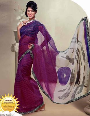 Super Net Exclusive Printed Saree With Lace Border Work With Designer Blouse.