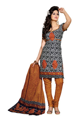 CottonBazaar Black & Mustered Colored Pure Cotton Dress Material