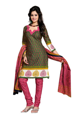 CottonBazaar Green & Pink Colored Pure Cotton Dress Material