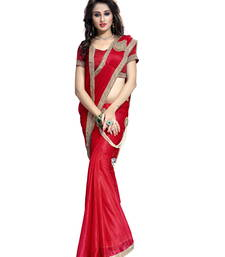 Buy Red plain faux lycra saree With Blouse gown-saree online