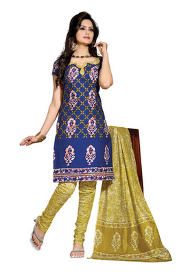 CottonBazaar Blue & Lemon Green Colored Pure Cotton Dress Material