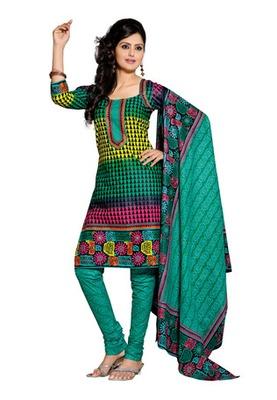 CottonBazaar Green & Sky Blue Colored Pure Cotton Dress Material