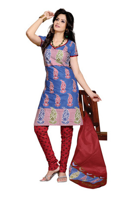 CottonBazaar Blue & Red Colored Pure Cotton Dress Material