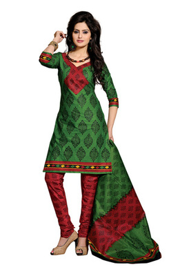 CottonBazaar Green & Magenta Colored Pure Cotton Dress Material