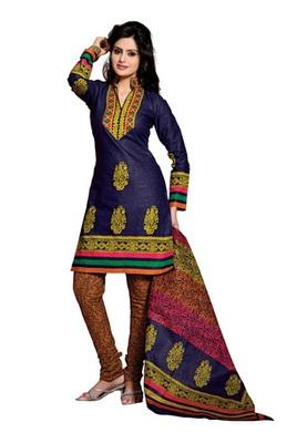 CottonBazaar Blue & Orange Colored Pure Cotton Dress Material
