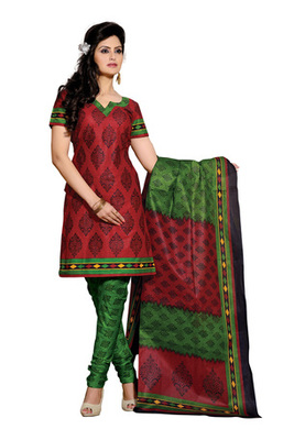 CottonBazaar Maroon & Green Colored Pure Cotton Dress Material
