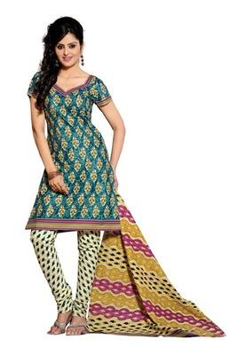 CottonBazaar Teal & Cream Colored Pure Cotton Dress Material