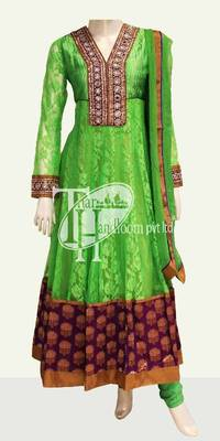 Exclusive parrot green beautiful work suit