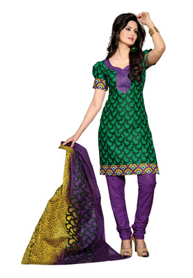 CottonBazaar Green & Purple Colored Pure Cotton Dress Material