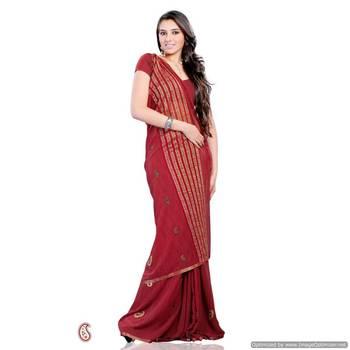 Pretty Red georgette saree