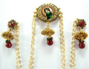 Peacock style ruby emerald cz pearl gold tone bun pin earring bl02