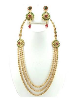 Harem style 3 line ruby emerald cz gold tone long necklace earring set k51