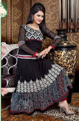 Aesthetic Black and Red Anarkali Salwar Kameez