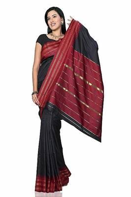 A Sensational Silk Saree with Zari Lining Pallu and border