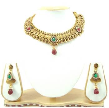 Temple jewellery ruby emerald cz gold tone necklace earring set k55