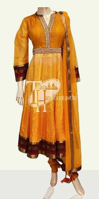Mustered Yellow pulse n zari work stylish suit