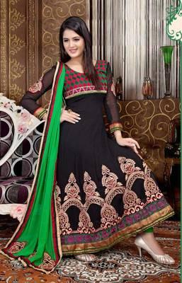 Captivating Black and Green Anarkali Salwar Kameez