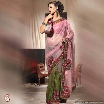 Wonderful Embroidered Saree With Heavy Net Pallu