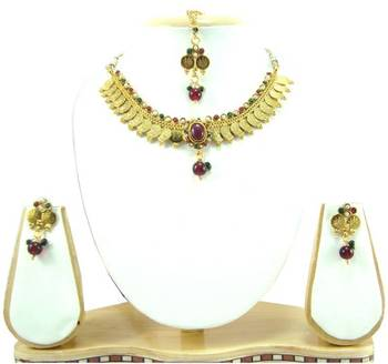 Temple jewellery maroon green pearl gold tone necklace earring set k58